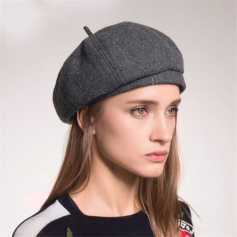 Color : Blue Sviper Artists hat Keep Warm Wool Felt Dome Ribbon Winter Floppy Hats Berets for Women Female in hat