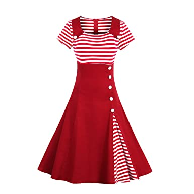 KeKeD23921 Autumn Vintage Dress Black White Striped Patchwork Short Sleeve 1950s Retro Hepburn Dress Rockabilly Feminino