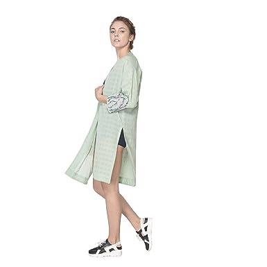69462892407 STFU Women's bamboo fabric Prim Loose Fit Green Jacket: Amazon.in ...
