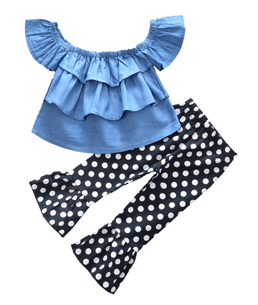 Kids Little Girls Off Shoulder Layers Ruffle Tops Dots Bootcut Pants Outfit Set
