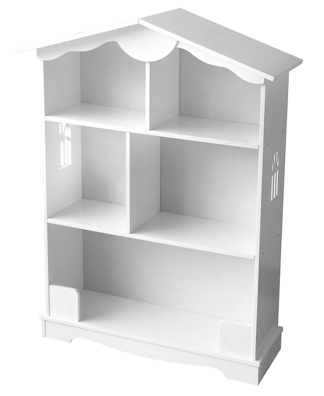 Children's Kids Wooden Bookcase for Toys, Lovely White House Shelf Holder Storage Organizer Display Units Leomark