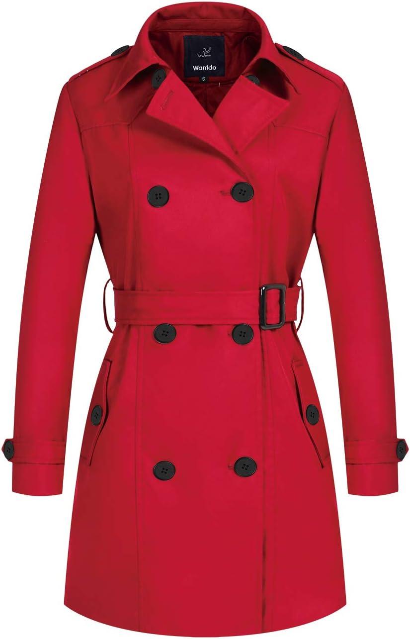 معطف واقي من المطر للنساء يتميز بطية صدر ثنائية وحزام من واندو