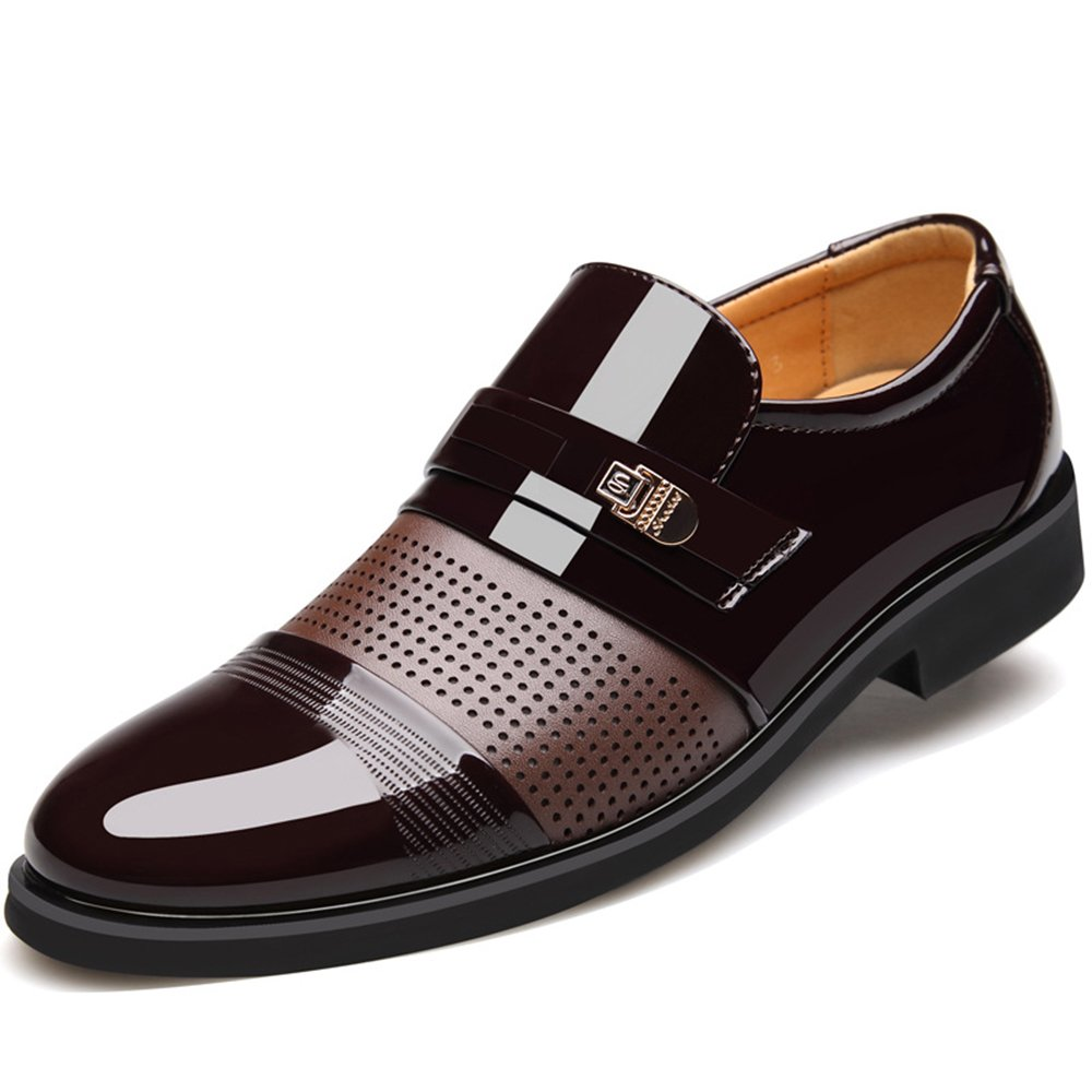 Seakee Men's Comfy Slip On Loafers Breathable Business Dress Shoes Brown02 US 9.5