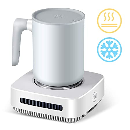 Nicelucky Cup Cooler-Coffee Warmer Desktop 2IN1, 131 – 46 Coffee Tea Drinks Mug Warmer Cooler Desktop Heating and Cooling Beverage Plate For Water,Milk,Beer,Cocoa white