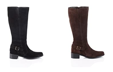 148df92079a ELLOS GENUINE SUEDE BLACK OR BROWN 18 INCH WIDE LEG FITTING ZIPPED BOOTS IN  SIZE 3