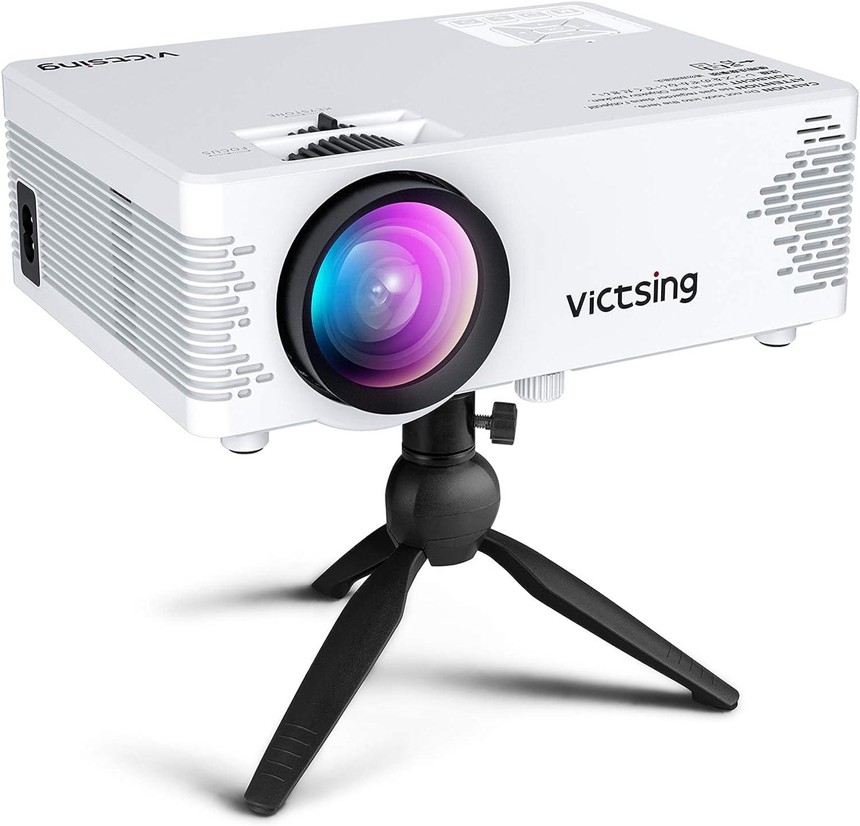 Proyector WiFi, VicTsing Mini proyector portátil , Compatible con Bluetooth y 1080P Full HD, Compatible con proyección con Cable e inalámbrica, Compatible con PS4 / USB / TV Stick / HDMI / VGA / AV