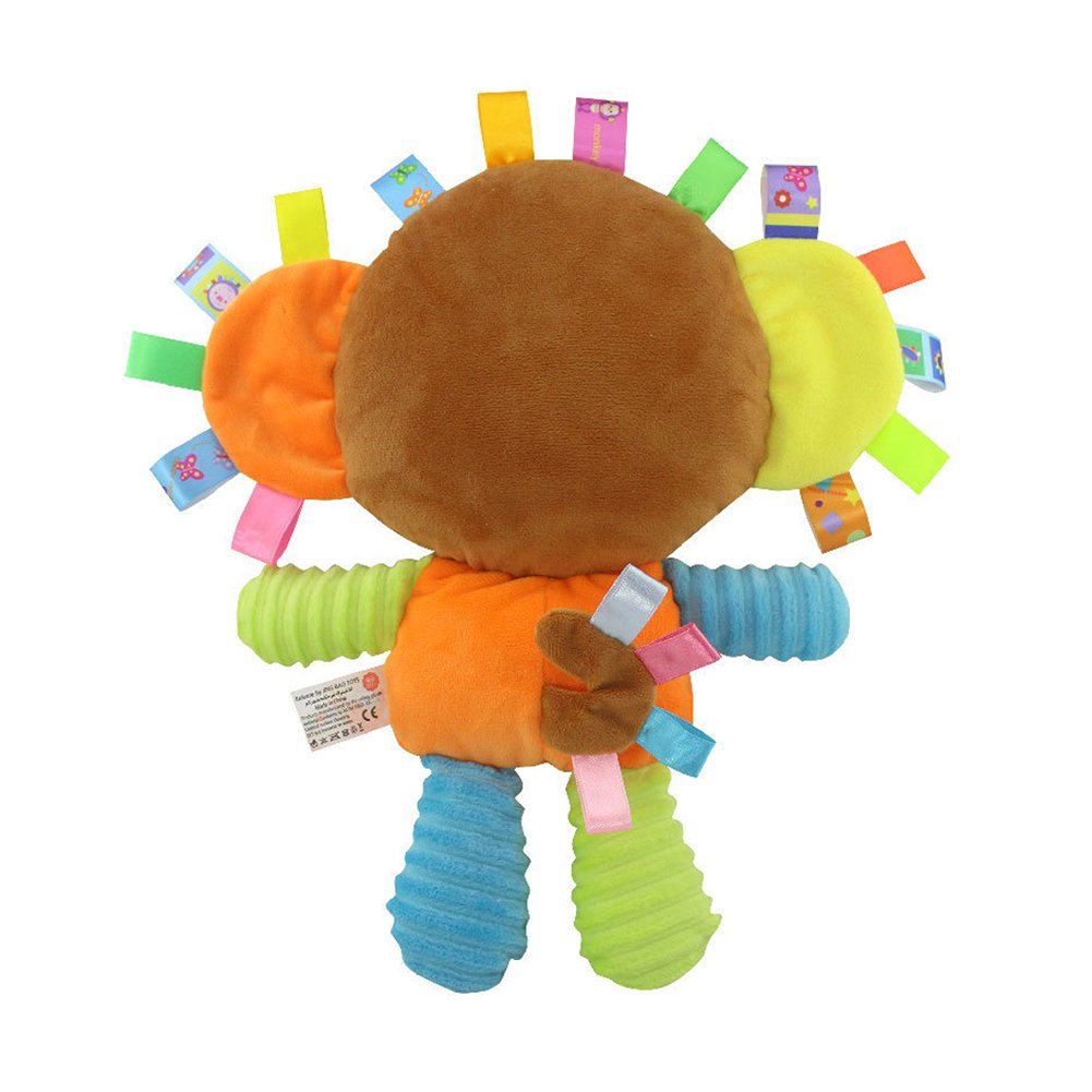 Soft Toy Best For Baby Toddler And Child INCHANT Soft Monkey Tag Toy /& Security Blanket Colorful Comforter Taggy Toy Built-in Bell