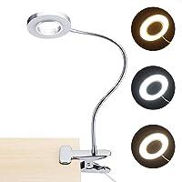 PopHMN Clip op bedlampje, LED clip op leeslamp USB opladen bureaulamp 3 kleuren dimbare oogzorglamp voor lezen bij bed…