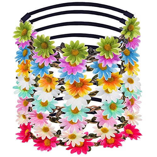 eBoot Lady Girl Headbands Multicolor Daisy Flower Crown Floral Garland for Festival Wedding Party, 9 Pieces ()