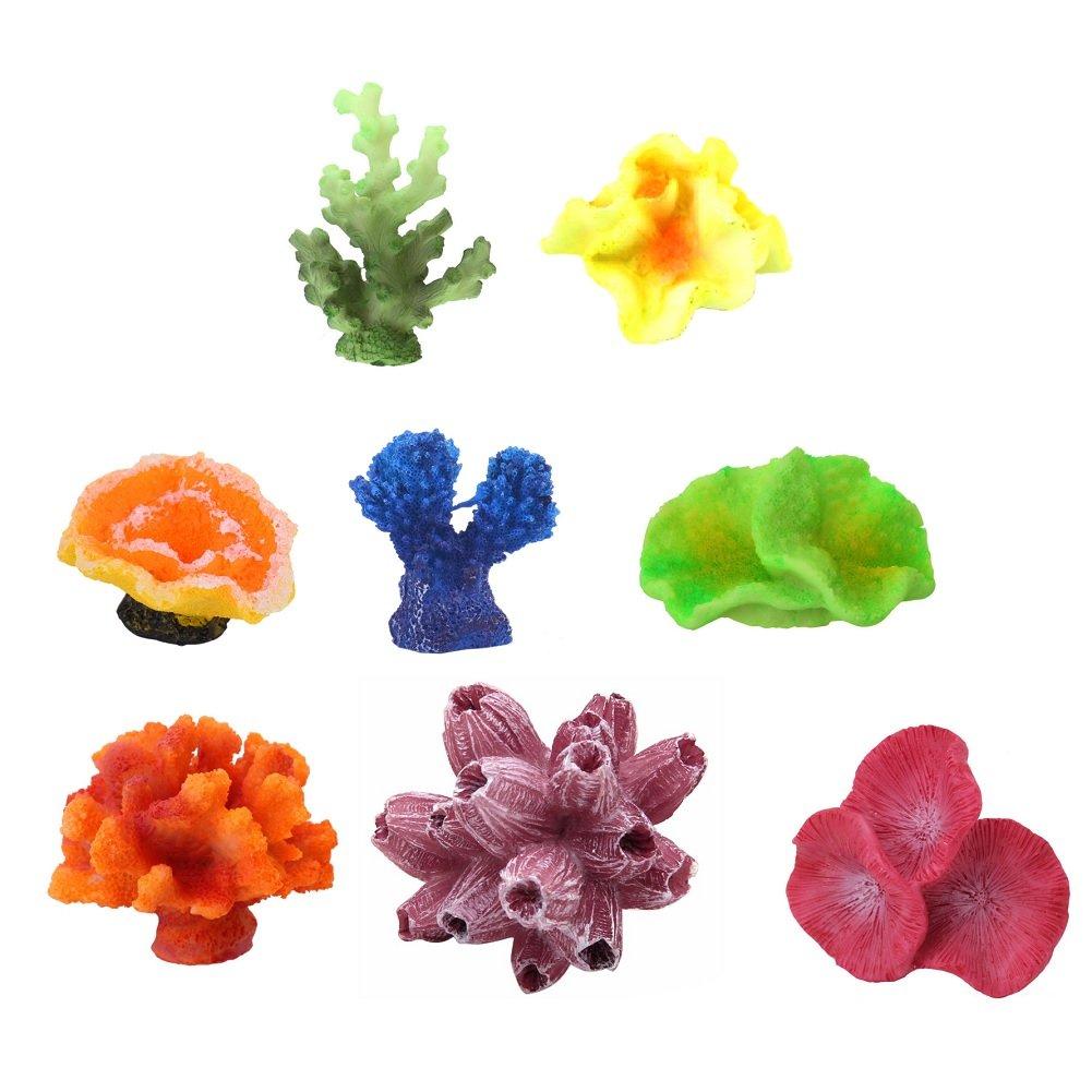 Stock Show 8Pcs/Pack Multicolors Aquarium Decor Artificial Coral Plant Seastar Decor Aquarium Reef Ornament for Fish Tank Decoration