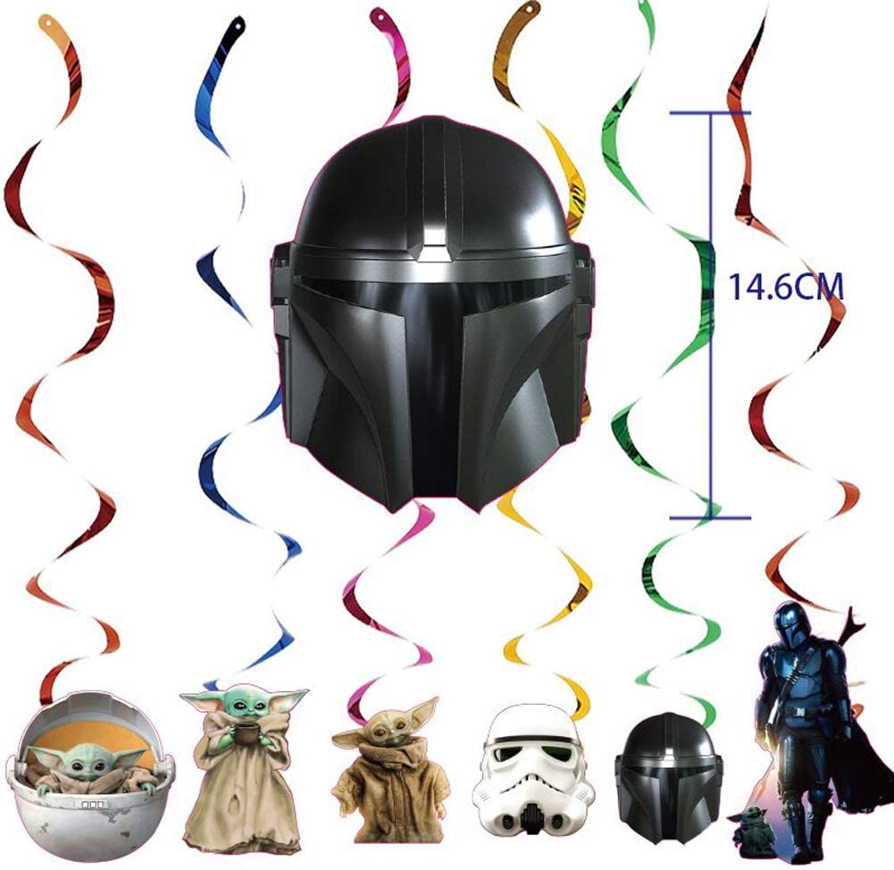 Baby Yoda Party supplies Set The Mandalorian Theme Birthday Party decorations Supplies Includes Happy Birthday Banner Garland for Party Decorations Cupcake Toppers Cake Topper