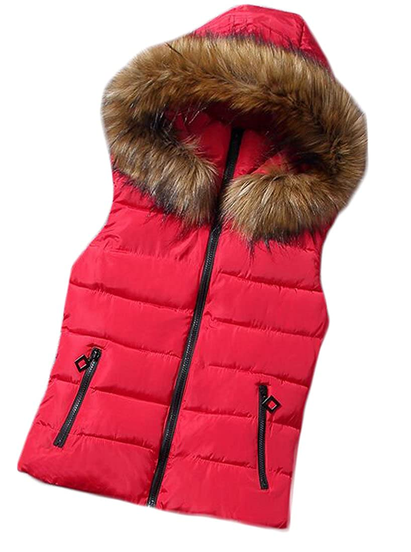 Rrive Womens Stand Collar Lightweight Faux Fur Hooded Quilted Vest