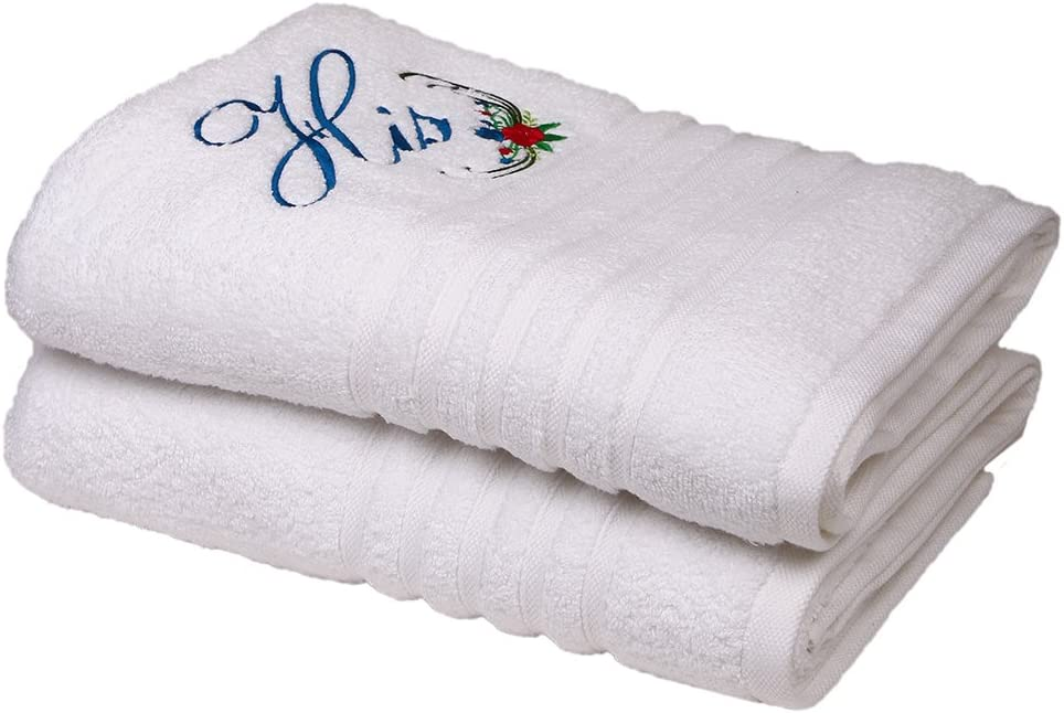30 X 56 inches Embroidered His Her Couples Gift Prick-N-Pounce Customized Large 100/% Cotton Bath Towel Set Two Blue