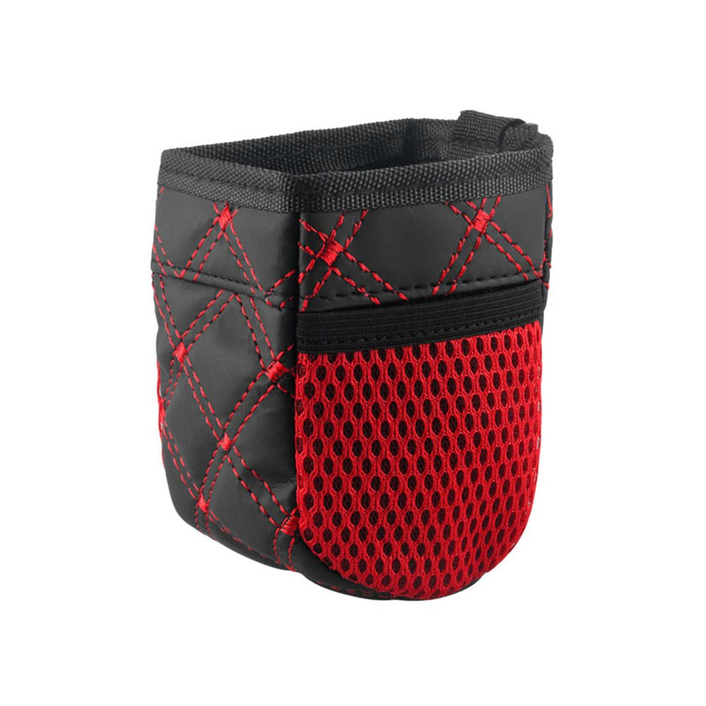 XMDZ Car Air Vent Bag Organiser Pouch with 2 Side Pockets for Cell Phones Keys Credit Cards Pens Gadgets, Red Stitches