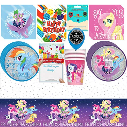 My Little Pony Friendship Adventures Birthday Party Supplies Bundle of Cups Plates Napkins Balloon Table Cover Happy Birthday Card and Treat Bags Bundle ()
