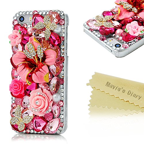 Mavis's Diary for Iphone SE 5S 5 3D Handmade Bling Crystal Butterfly and Colorful Flowers Rhinestone Diamond with Hard Case Cover with Soft Clean Cloth (Pink Flower Rhinestone Butterfly)