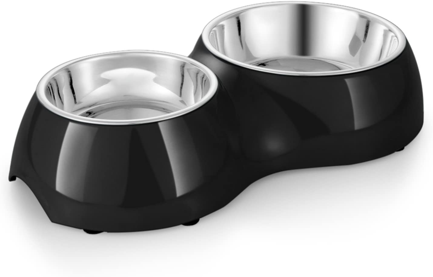 Flexzion Pet Feeder Feeding Drinking Stand Tray Station with Stable Plastic Dual Double Diner Stainless Steel Bowls Removable Dishes Food Water Holder for Dog Cat Puppies (Black)