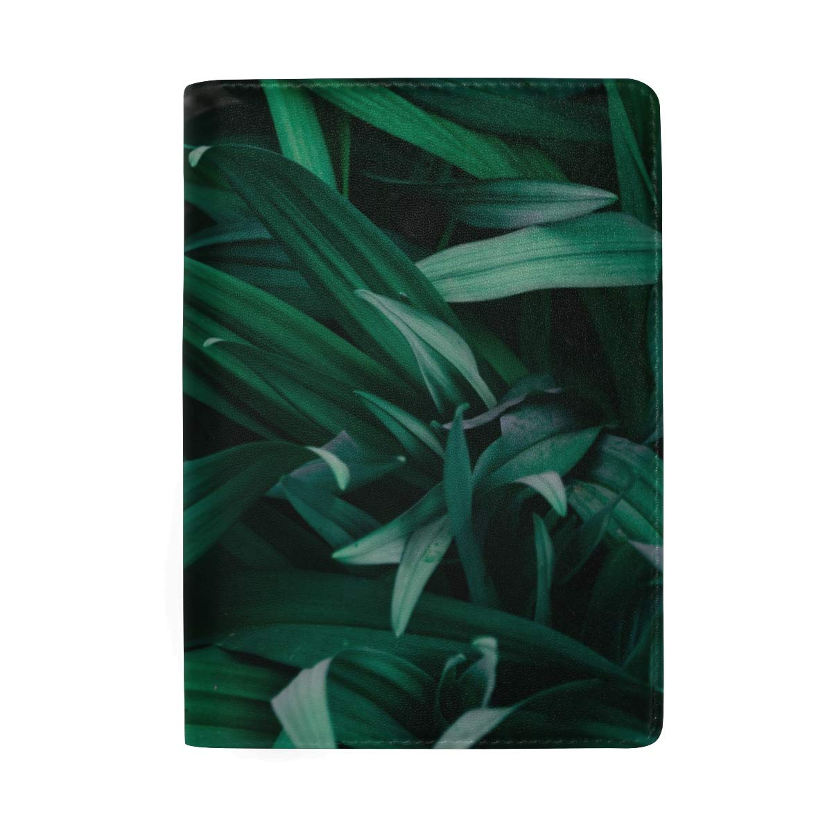 Green Leaf Abstract Evening Leather Passport Holder Cover Case Protector for Men Women Travel with Slots