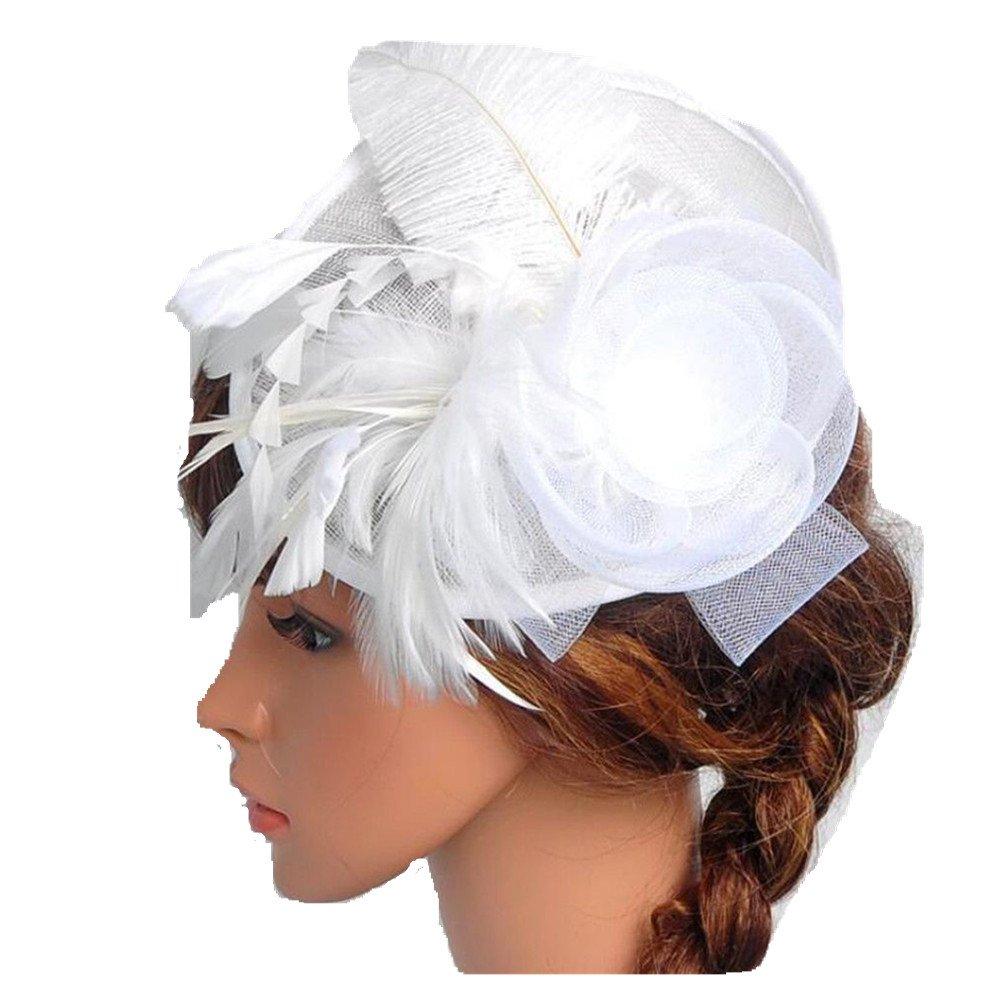bilang Lady Feather Headwear Fascinator Hair Clip Wedding Bridal Birdcage Hat (White)
