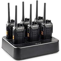 Retevis RT27 Talkie Walkie RMR446 sans Licence Rechargeable Professionnel VOX 16 Canaux CTCSS/DCS Alarme Monitor Chargeur à 6 Emplacements(Noir, 6 pcs)