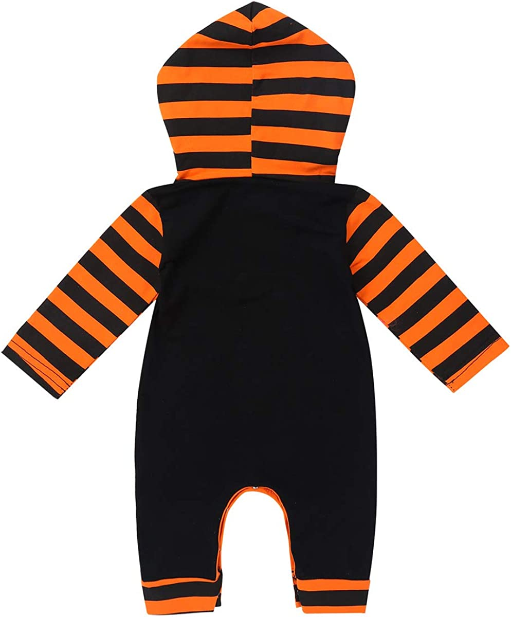 YUUMIN Baby Boys Girls First Halloween Long Sleeves Hooded Pumpkin Printed Romper Jumpsuit
