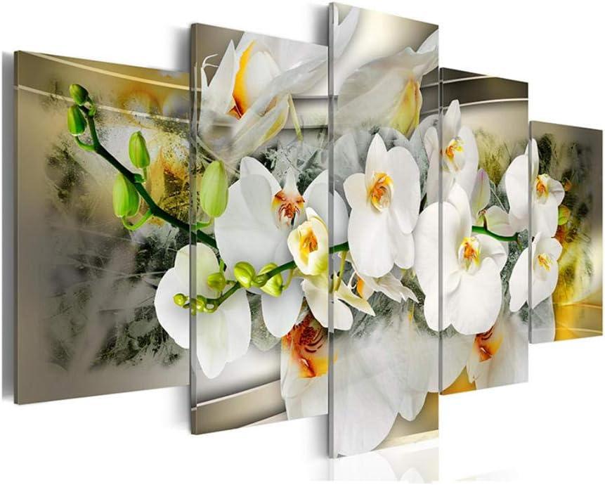 GTomorrow Quadro Murando 5 Pezzi Stampa su Tela in TNT Murale Ristorante caff/è Cucina Decorazione da Parete Mangnolia Fiore Fiore di Orchidea 100x55Cm