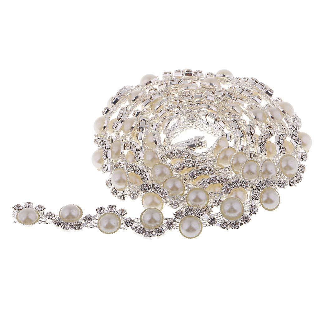 Prettyia Pearl Rhinestone Chain Trim by The Yard Bridal Dress Clothes Sweater Bags Garment Dress DIY Embellishment