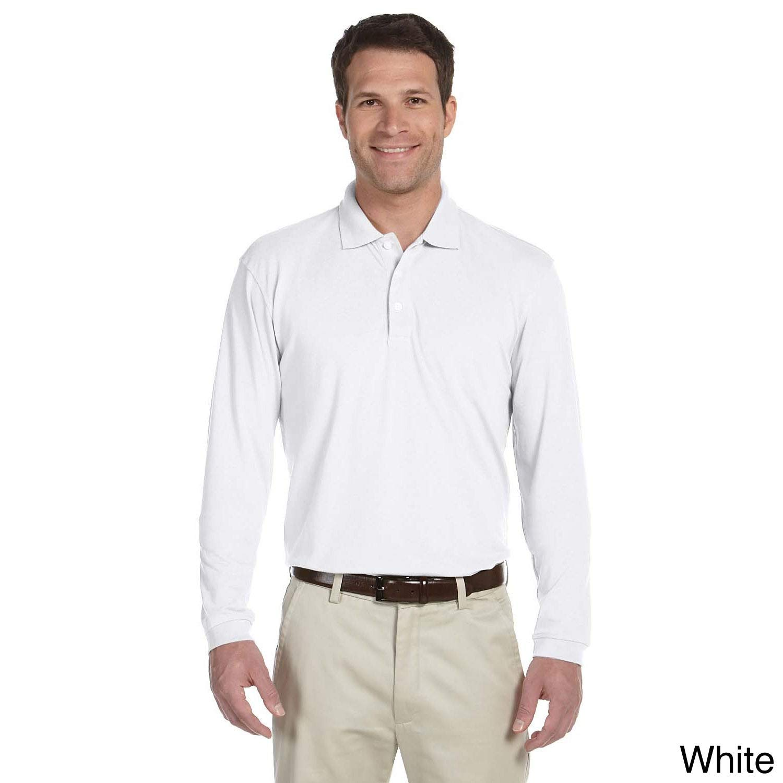 Harriton Mens Easy Blend Long Sleeve Polo Shirt Grey Heather XL