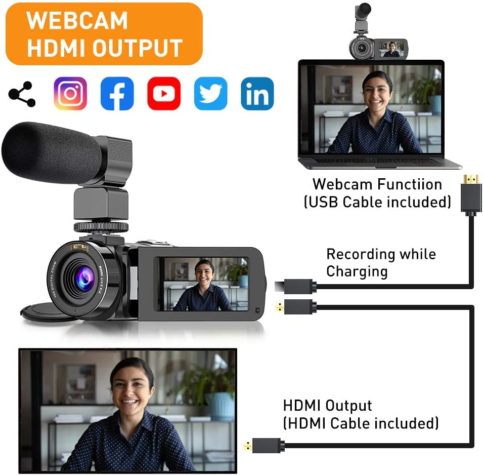 """Video Camera Camcorder IR Night Vision WiFi YouTube Vlogging Camera FHD 1080P 30FPS 26MP 3.0/"""" Touch Screen 16X Digital Zoom Digital Camera Video Recorder with Microphone Remote Control Lens Hood"""