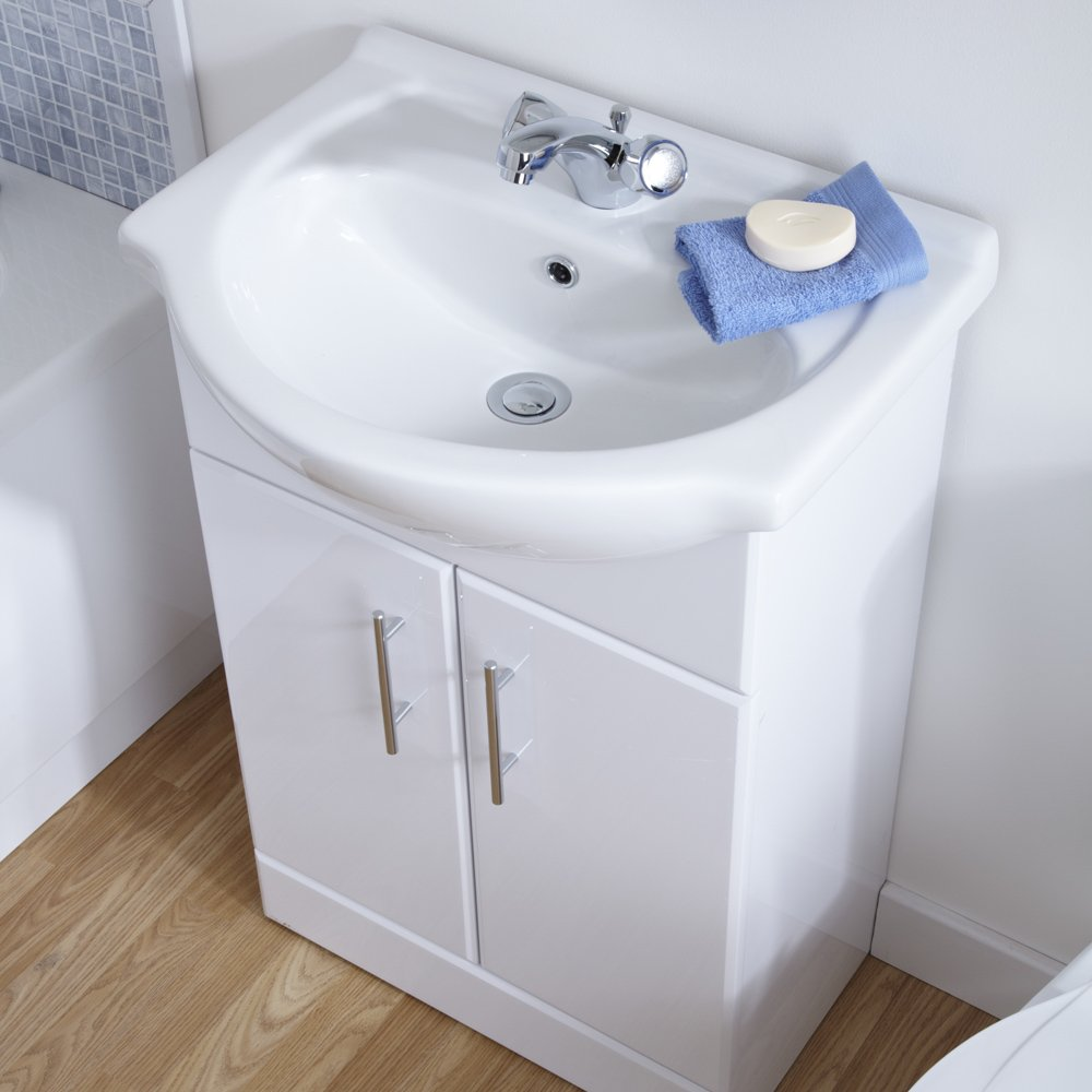 White gloss bathroom furniture - White Gloss Bathroom Vanity Unit Basin Sink 550mm Cloakroom Storage Cabinet Ceramic Furniture 5 Year Guarantee Amazon Co Uk Kitchen Home