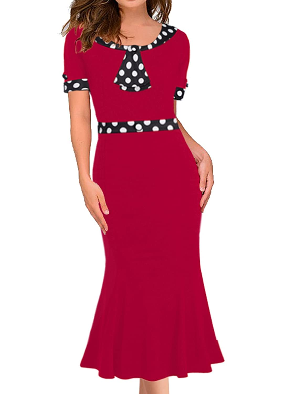 Vintage Polka Dot Dresses – Ditsy 50s Prints Womens Vintage 1950s Elegant Polka Dot Bow-knot Fishtail Cocktail Party Dress $24.99 AT vintagedancer.com