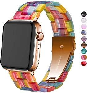 DEALELE Band Compatible with iWatch 38mm 42mm 40mm 44mm, Colorful Resin with Stainless Steel Clasp Strap Replacement for Apple Watch Series 5/4 / 3 Women Men (Rainbow, 42mm/44mm)
