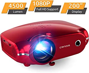 Crenova Mini Projector, 1080P Full HD Supported Video Projector, 4500 Lux LED Movie Projector for Home Theater, Portable Outdoor Projector with Max 200