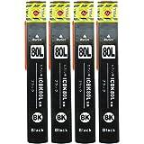 【MIRAKU INK】 エプソン EPSON ICBK80L ブラック/黒 増量版 お得4個セット 互換インクカートリッジ ICチップ付 対応機種: EP-707A EP-777A EP-807AB EP-807AR EP-807AW EP-907F EP-977A3 (ICBK80L*4個セット)