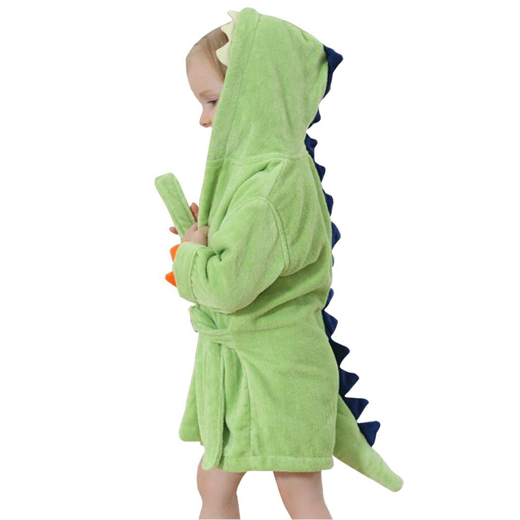 Kids Bath Robe Toddler Cotton Towel Animal Dinosaur Hooded Bathrobe by C-YOUNG