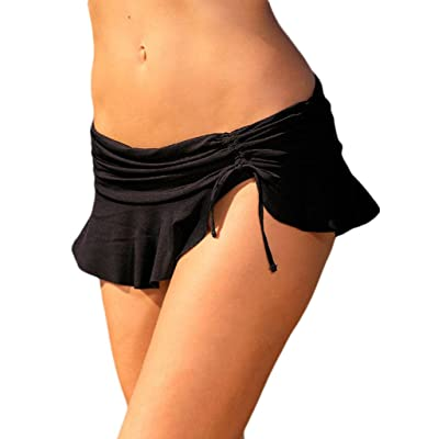 Aleumdr Womens Ruched Side Tie Swim Shorts Skirted Bikini Bottom