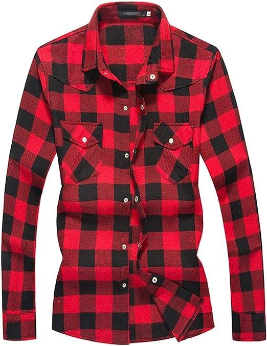 Weentop Camisa Casual de Manga Larga a Cuadros con Botones a presión para Hombres (Color : Rojo, tamaño : Metro): Amazon.es: Hogar