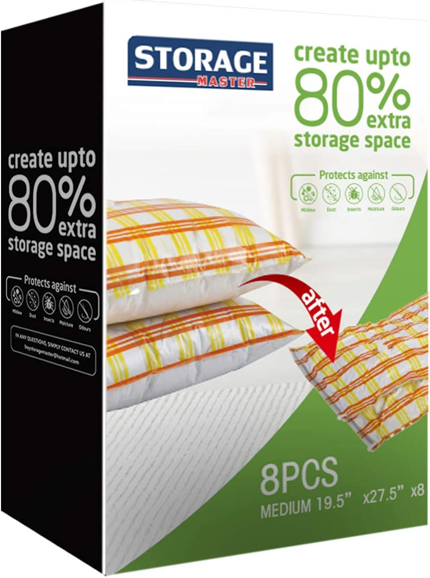 Storage Master Space Saver Bags, Vacuum Storage Bags for Travel & Home (8-Medium)