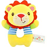 TOLOLO Baby's Wrist Rattle Learning Stuffed Cartoon Animal Hand Bell Plush Doll Toys for Newborn (Lion)