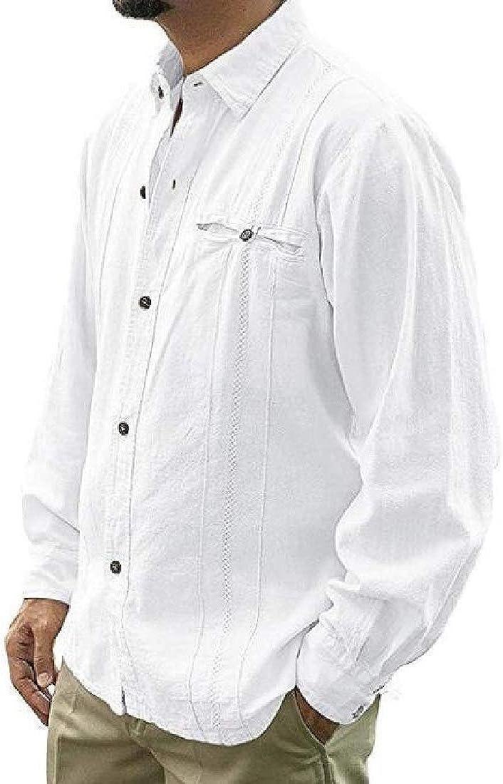 Wofupowga Mens Loose Regular Solid Long-Sleeve Classic Button-Down Shirt