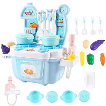 Buy 1 Set Simulation Mini Kitchen Set Play House Plastic Cute Cooking Bench Playsets Role Play Toys Accessories For Kids Children Blue Online At Low Prices In India Amazon In