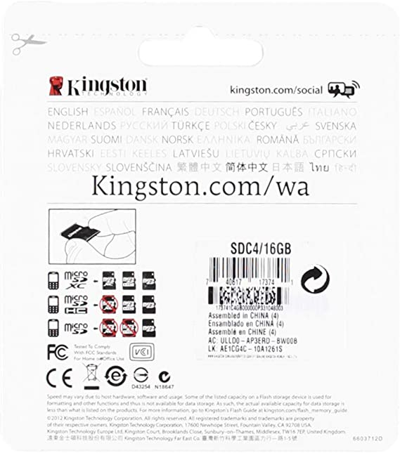 32Mbps // Class 4 Professional Kingston 16GB MicroSDHC Plum Coach Pro with custom formatting and Standard SD Adapter!