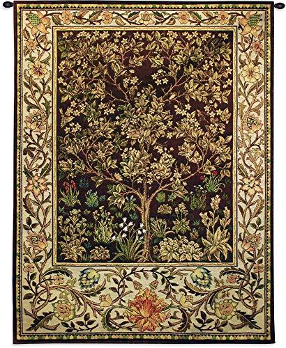 Tree of Life Umber by William Morris | Arts and Crafts Style Woven Tapestry Wall Textile Art | Ornate Spiritual Tree Pattern | 100% Cotton USA Size 53x40