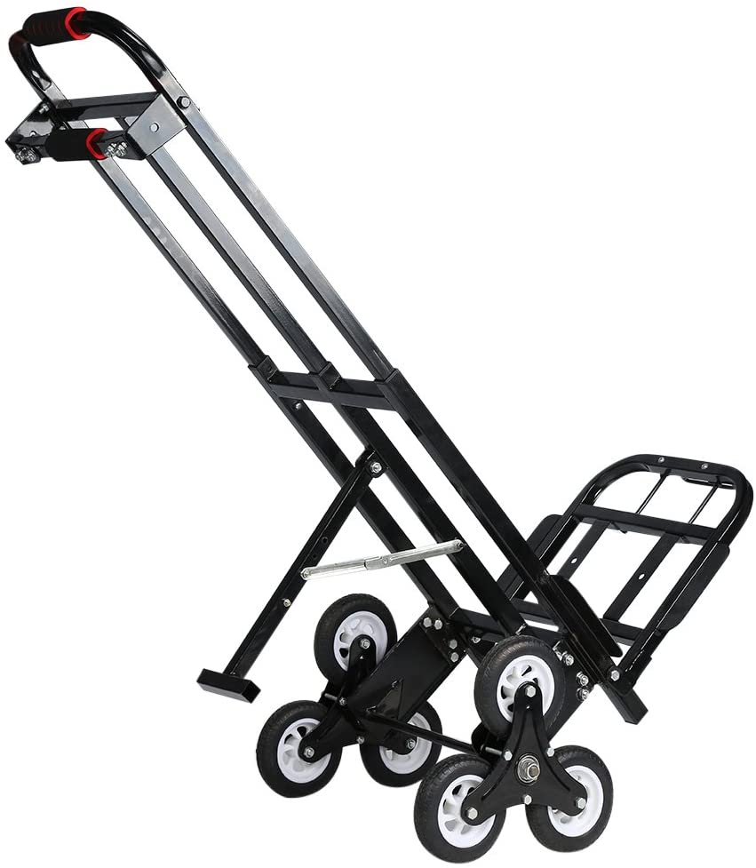 Black Mecete Enhanced Stair Climbing Cart Portable Climbing Cart 460lb Largest Capacity All Terrain Stair Climbing Hand Truck Heavy Duty with 6 wheels with Universal wheels Baking Varnish Shining