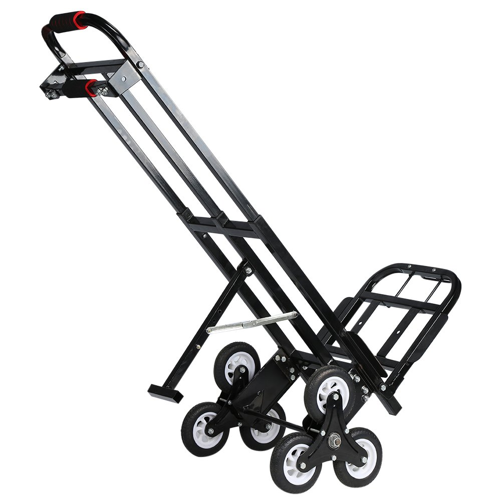 Mecete Enhanced Stair Climbing Cart Portable Climbing Cart 460 lb largest Capacity All Terrain Stair Climbing Hand Truck Heavy Duty with 6 Wheels (Black) Baking Varnish Surface Shining