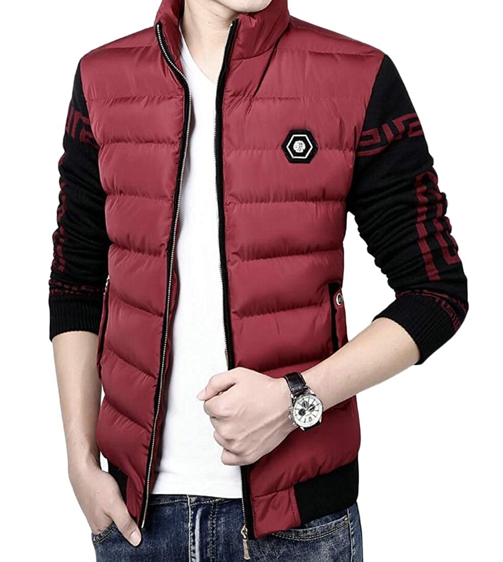 Alion Mens Knitted Sleeve Stand Collar Fashion Packable Down Jacket Puffer Coats