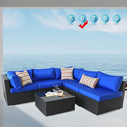 Amazon.com: Leaptime Patio Sofa 6-Piece Garden Furniture ...