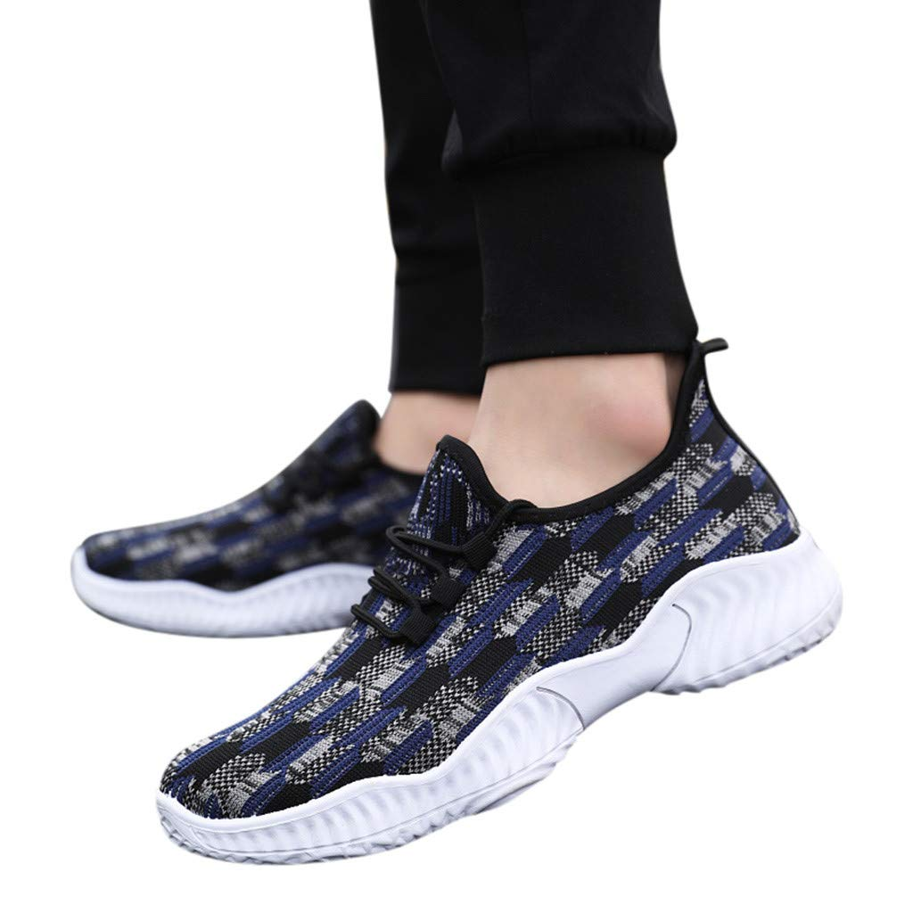 Fainosmny Mens Shoes Breathable Sneakers for Men Sports Shoes Lace Up Shoes Mesh Stretch Sneakers Light Soft Shoes Blue