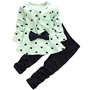 Kids Long Sleeves Cute Heart Pattern T Shirt Tops with Bow Tie + Pants Set 2 Pieces Outfit Suit for Toddler Baby & Little Girls, Green, Age 18-24 Months = Tag 90