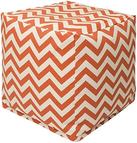 Majestic Home Goods Burnt Orange Chevron Indoor Outdoor Bean Bag Ottoman Pouf Cube 17 L x 17 W x 17 H